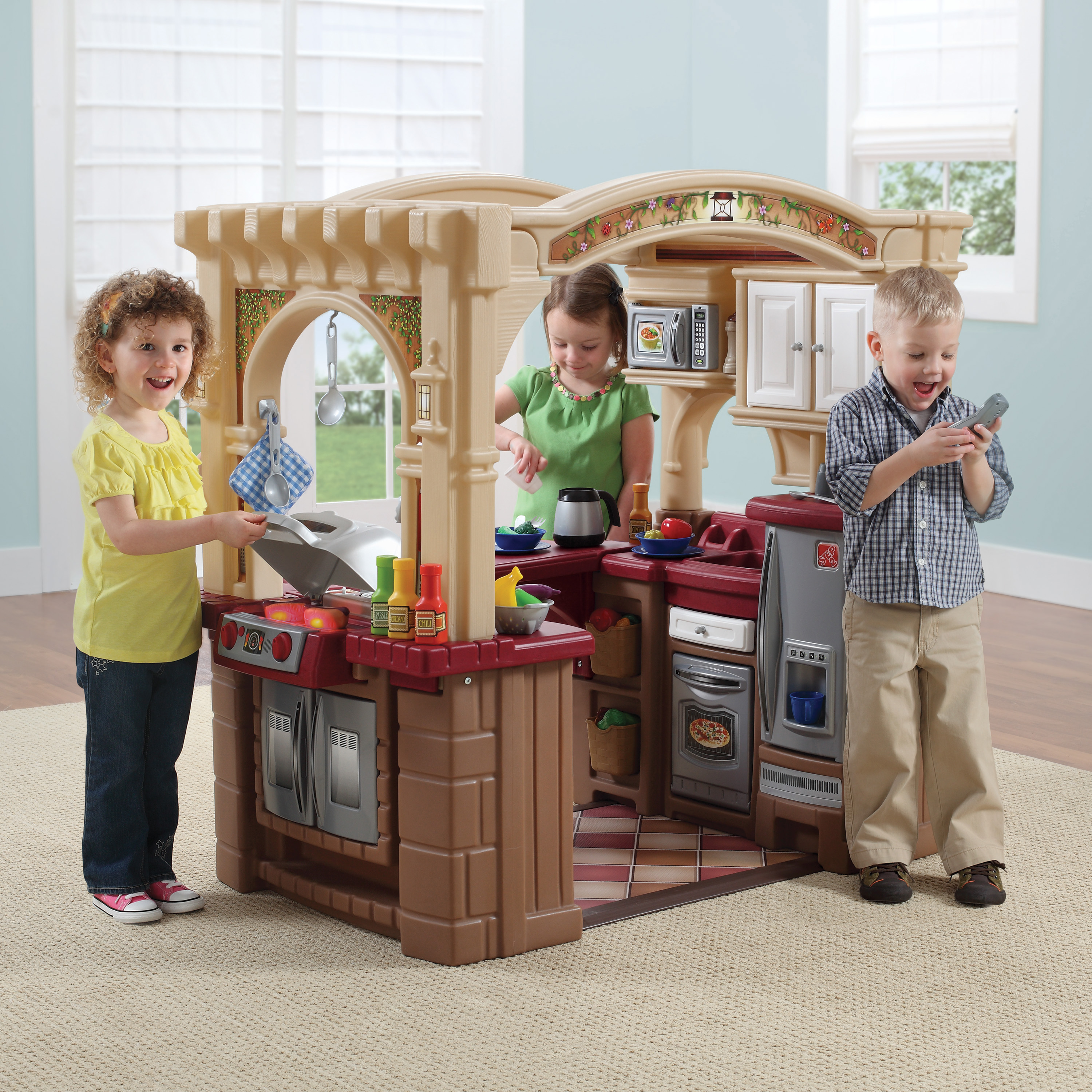 Step2 Grand Walk-In Play Kitchen & Grill with 103 Piece Food Accessory Set  - Walmart.com