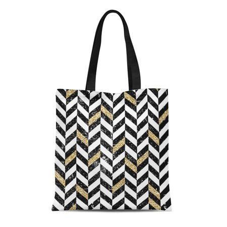 ASHLEIGH Canvas Tote Bag Yellow Classic Gold and Black Chevron Pattern Vintage Cool Durable Reusable Shopping Shoulder Grocery