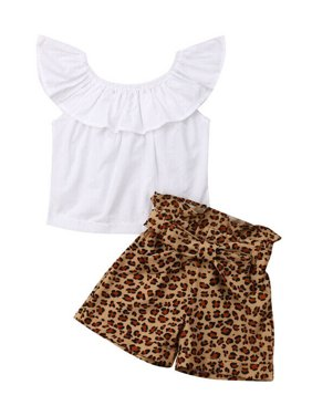 Toddler Kid Baby Girl Clothes Ruffle Tops Leopard Pants Shorts Summer Outfits