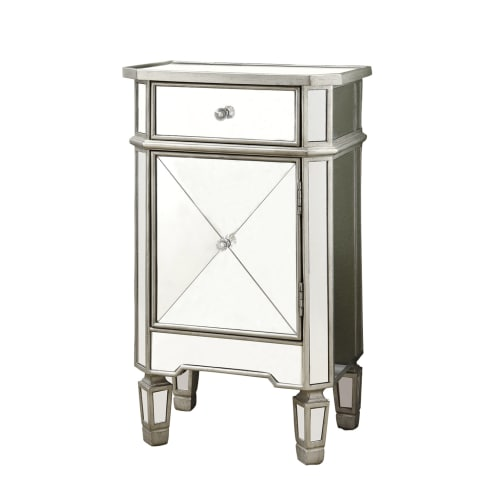 "Monarch Accent Chest 29""H Brushed Silver With Mirror Walmart"
