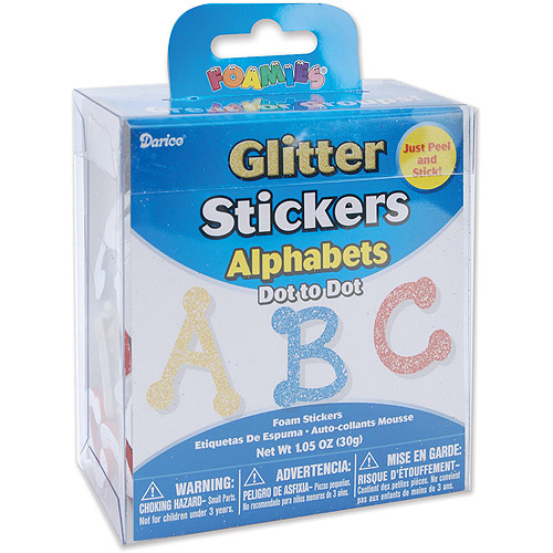 Darice Foam Glitter Stickers, 1.05 oz, Dot Alphabet