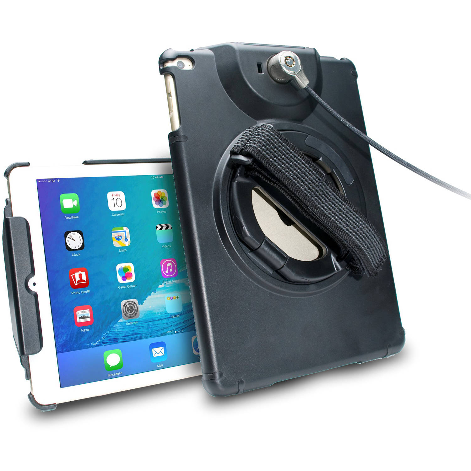 CTA Digital Anti-Theft Case with Built-In Grip Stand for Apple iPad Air/Air 2