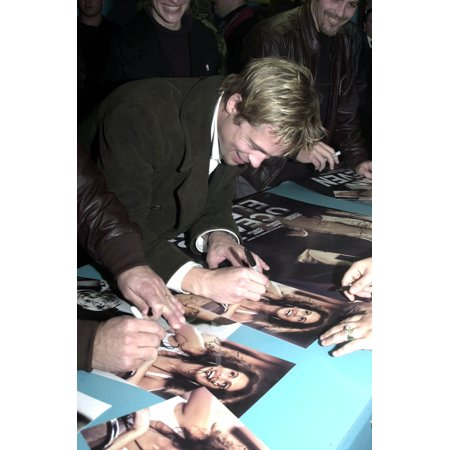 Autographed Base (LAMINATED POSTER Brad Pitt signs autographs for troops during his December 7th visit to Incirlik Air Base, Turkey. Pi Poster Print 24 x 36 )