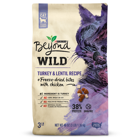 Purina Beyond High Protein, Grain Free, Natural Dry Cat Food; WILD Turkey Recipe + Freeze Dried Bites - 3 lb.
