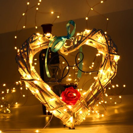 Lights & Lighting Lighting Strings 10 Led Warm White Metal Love Heart Shape Light Wire Outdoor Christmas Garden Wedding Party Decoration Fairy String Light Convenience Goods
