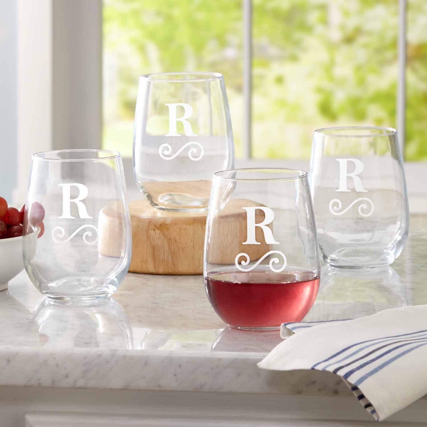 Personalized Modern Monogram Stemless Wine Glasses, Set of 4