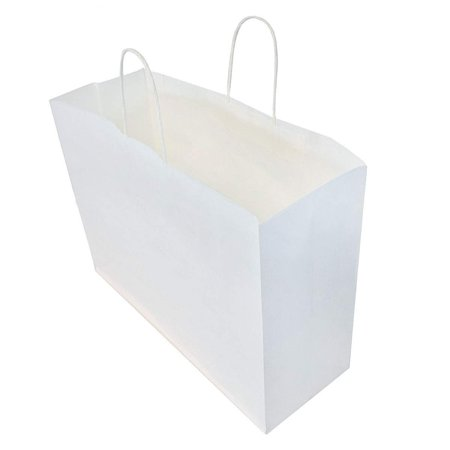 16x6x12 100 Pcs Pack Of 100 White Kraft Paper Bags With Handles