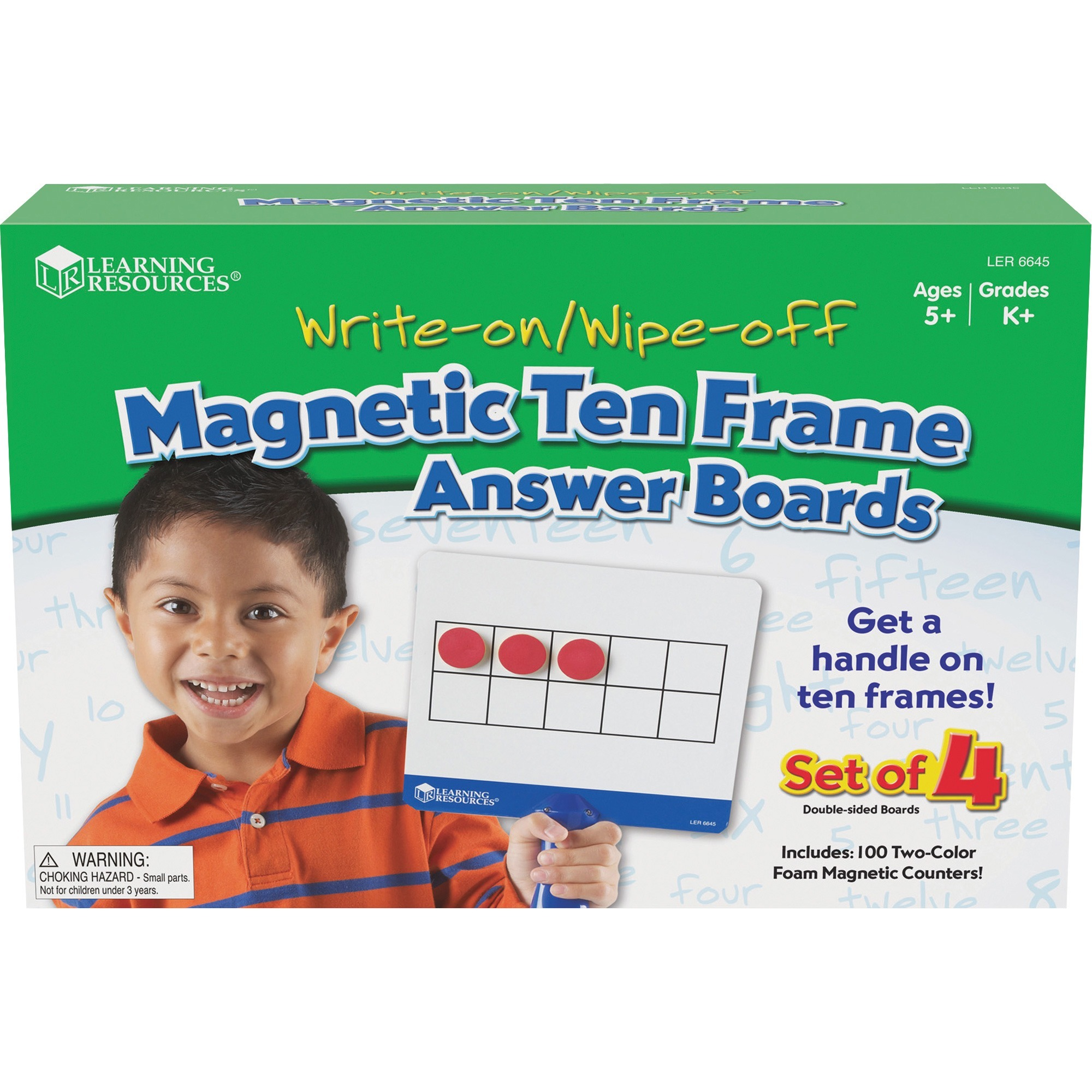 Learning Resources, LRNLER6645, Magnetic 10-frame Answer Boards, 4 / Set, Red,Yellow