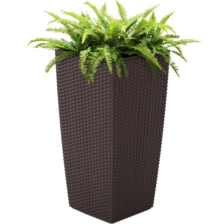 Best Choice Products Self-Watering Wicker Planter, Brown
