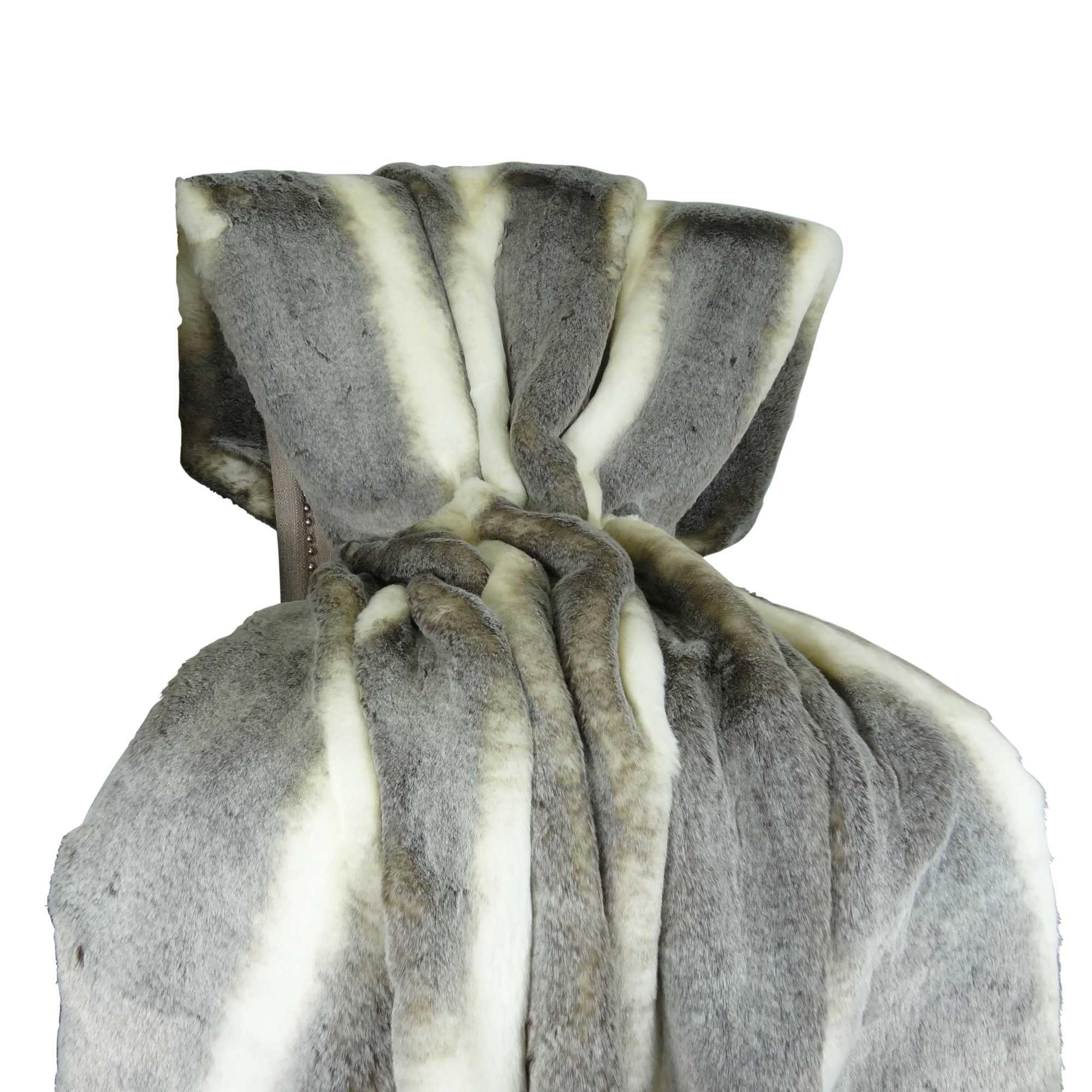 HomeRoots Beddings,Plutus Tissavel Chinchilla Faux Fur Handmade Throw / Blanket