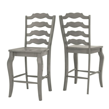 Oak Counter Height Side Chair - Weston Home Farmhouse Vintage French Ladder Back Solid Wood Counter Height Chair, Set of 2, Multiple Finishes
