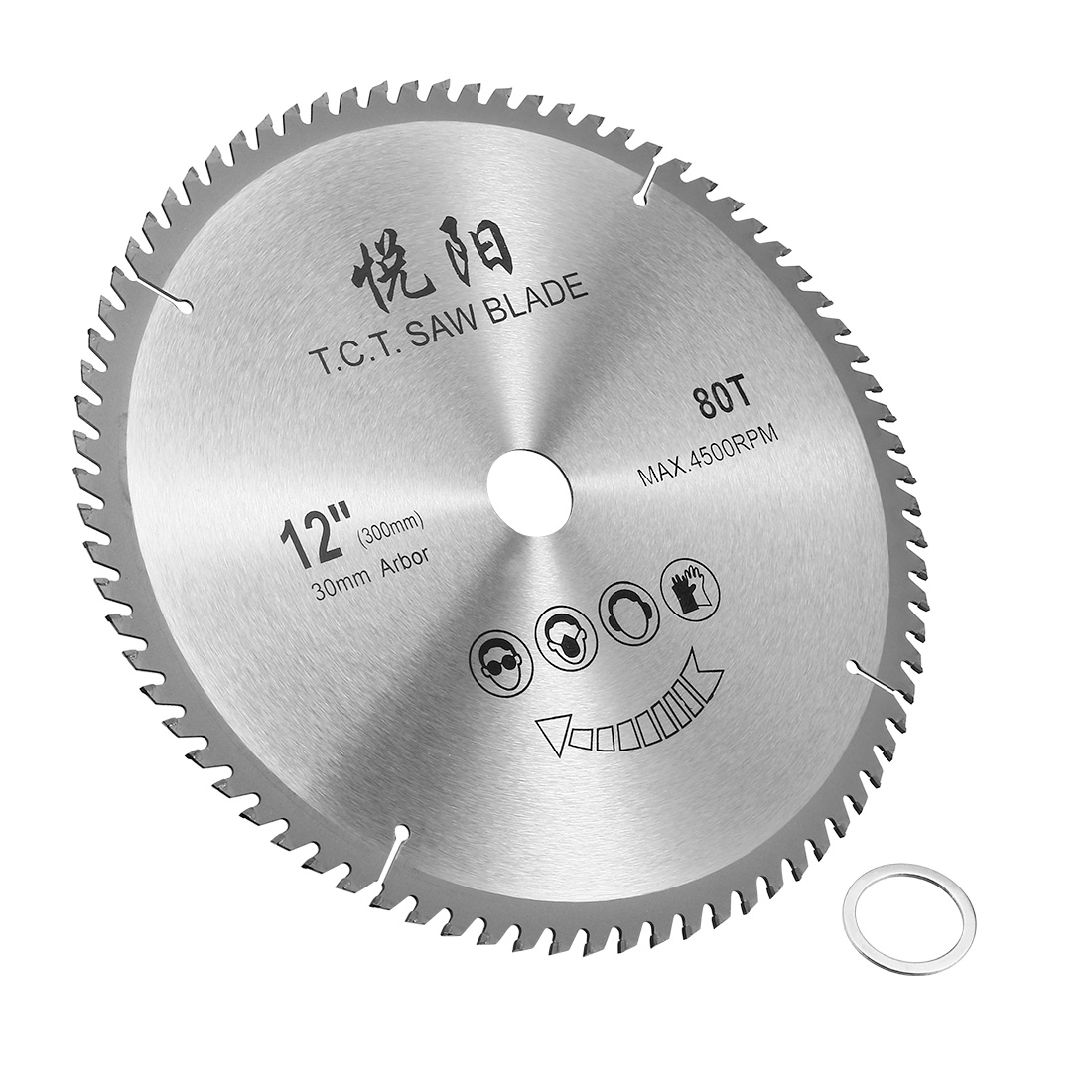 Unique Bargains 12-Inch 80 Tooth 4500RPM Carbide Tip Cutting Circular Saw Blade w 30mm Arbor - image 4 de 4