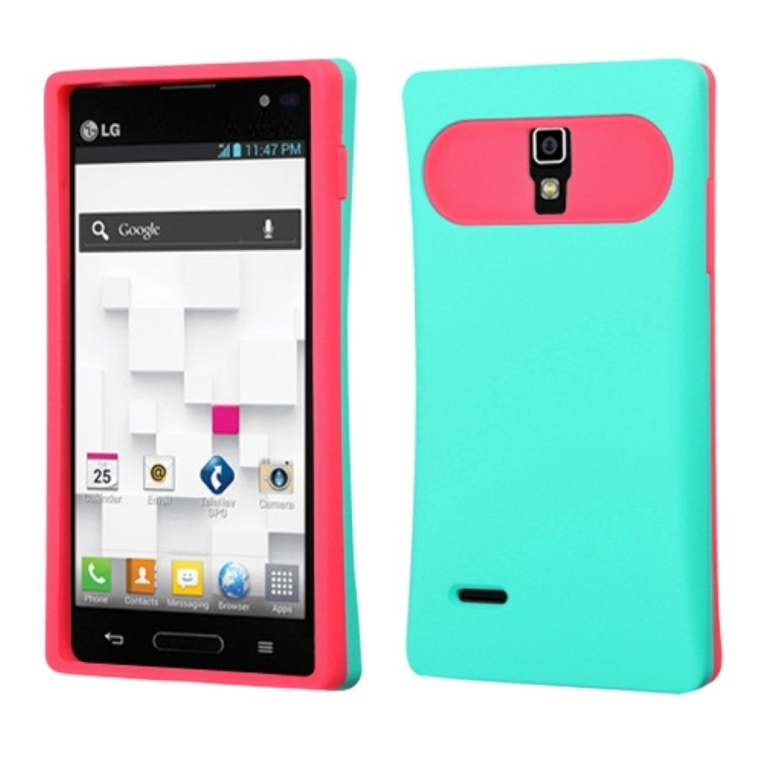 Insten Rubberized Teal Green/Hot Pink Back Case for LG: P769 (Optimus L9)
