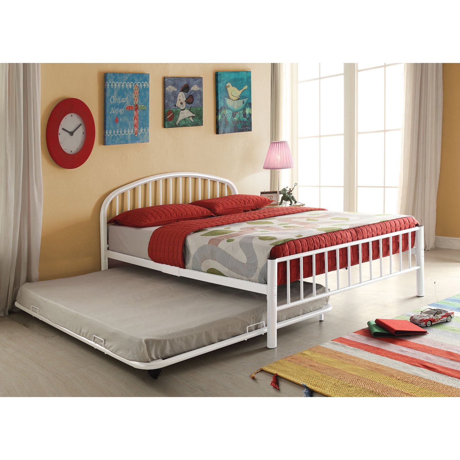 Gentil Cailyn Kidsu0027 Trundle Bed Only, Full, White, Mattress Not Included