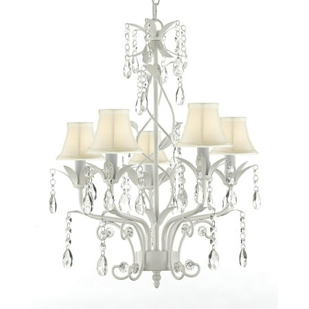 Wrought Iron and Crystal 5 Light White Chandelier Pendant Lighting Can be Hardwired or Plugged in ! Shades Included