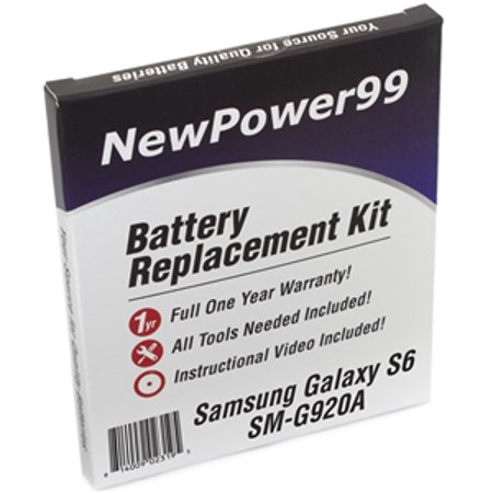 Samsung GALAXY S6 SM-G920A Battery Replacement Kit with Tools, Video Instructions, Extended Life Battery and Full One Year (Long Life Battery For Samsung Galaxy S4)