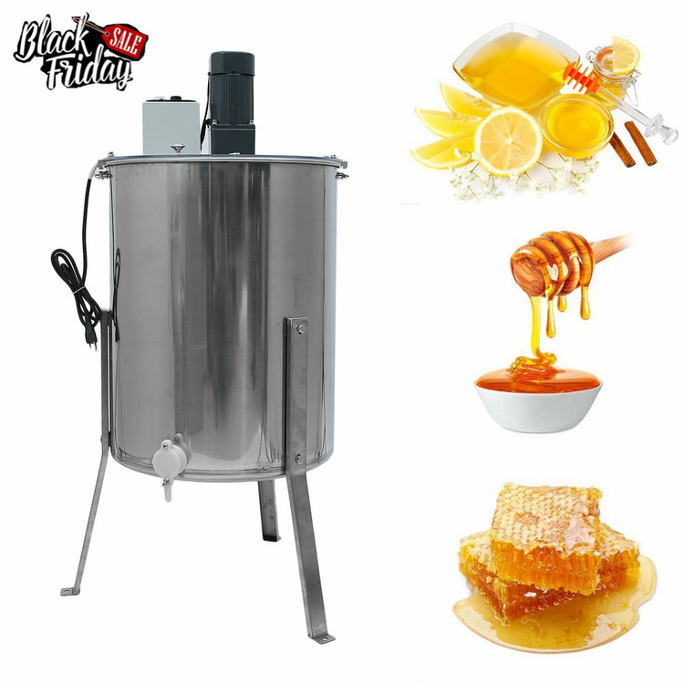Electric Four 4 Frame Stainless Steel Vertical Stand Honey Extractor Beekeeping Equipment 110V US Plug