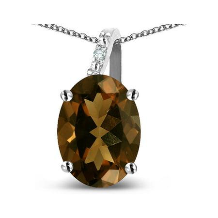 - Star K 14k Gold Oval 9x7 Genuine Smoky Quartz Journey Pendant Necklace