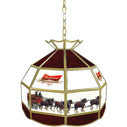 """Trademark Global Budweiser Clydesdale 16"""" Stained Glass Tiffany Lamp Light Fixture"""