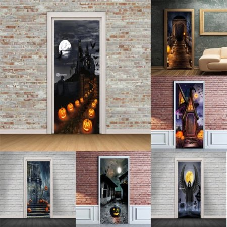 3D Halloween Pumpkins Door Wall Sticker Self-adhesive Mural Sticker PVC Durable Door Wall Sticker - image 1 of 5