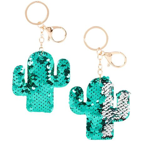 Flip Mermaid Sequin Cactus Keychain Party Favors Party Supplies (12 pack) (Mermaid Keychain)
