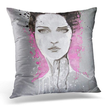 CMFUN Pink Woman Watercolor Portrait of Beautiful Girl Self Made Painting Life Pillow Case Pillow Cover 18x18 inch