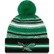 Philadelphia Eagles New Era Youth 2021 NFL Sideline Sport Historic Pom Cuffed Knit Hat - Kelly Green - OSFA
