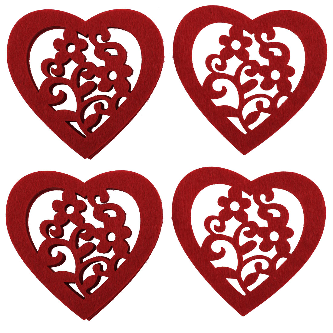 Home Office Felt Heart Shape Cup Heat Insulation Resistant Mat Pad Coasters 4pcs