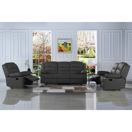 Traditional Classic Reclining Sofa Set Real Grain Leather Double