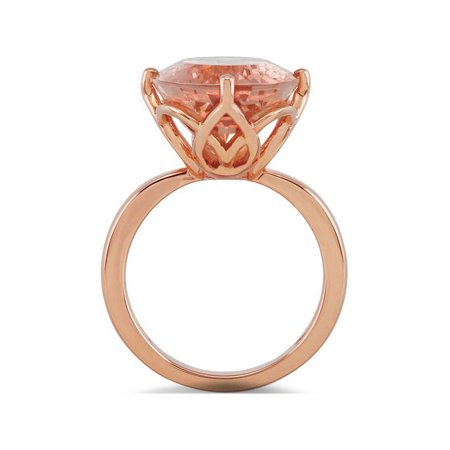 18x13mm Large Oval Morganite Vintage Style Ring 14K Rose Gold - image 1 de 2
