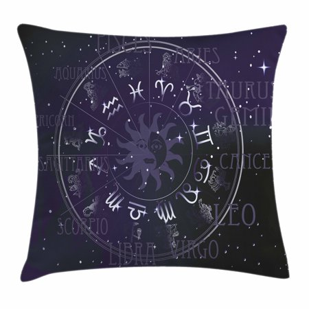Astrology Throw Pillow Cushion Cover, Horoscope Zodiac Sign in Circle Wheel  Shape on Star Seem Backdrop Print, Decorative Square Accent Pillow Case,
