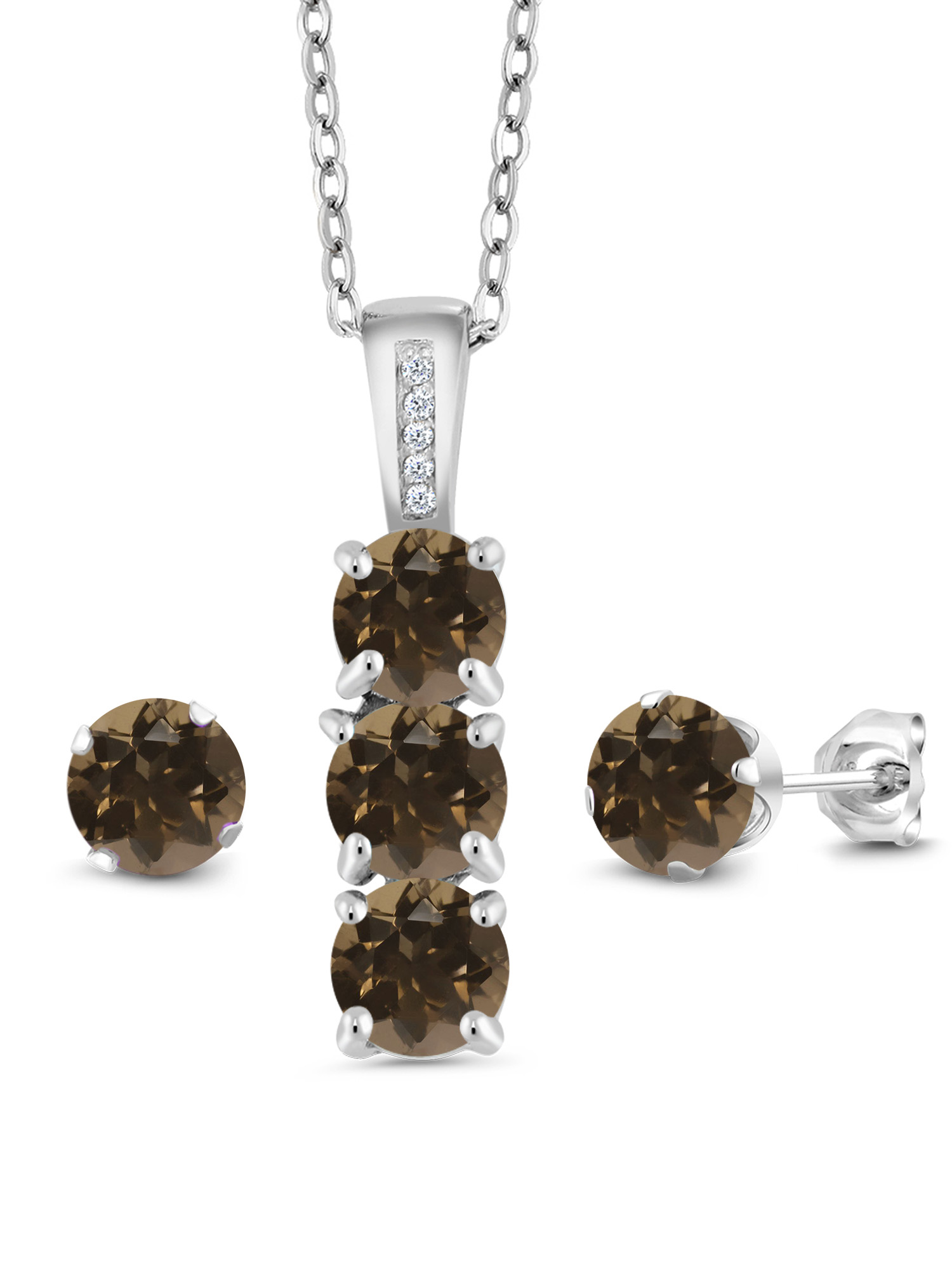 2.34 Ct Brown Smoky Quartz White Diamond 925 Silver Pendant Earrings Set