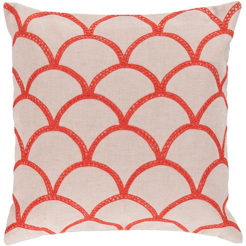 Meadow Neutral and Orange 18-Inch Pillow Cover