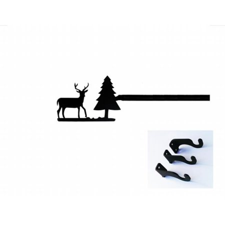 Village Wrought Iron CUR-203-112-S Deer & Pine Curtain Rod - Large - image 1 of 1