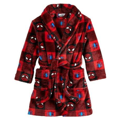 Marvel Boys' Toddler Spiderman Luxe Plush Robe, Spidey Plaid, Size: 2T