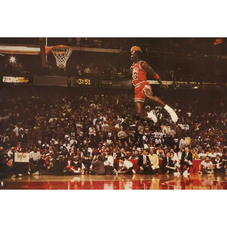 Michael Jordan Famous Foul Line Dunk Vintage Sports (Basketball) Print (35in x 23.5in), Brand NEW Poster By Poster