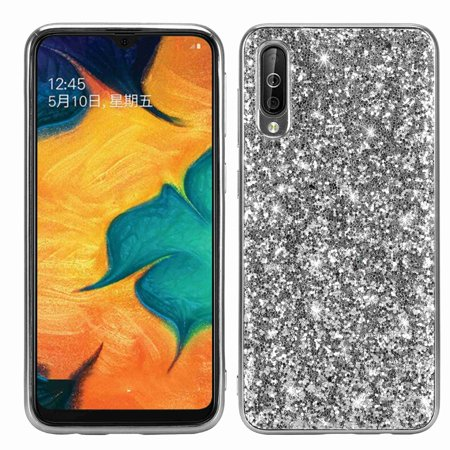 Dteck Case For Samsung Galaxy A50 (6.4 inch), Luxury Bling Sparkle Hard PC Girls Women Cover Soft TPU Bumper Shockproof Glitter Case, Silver Sparkle Hard Case