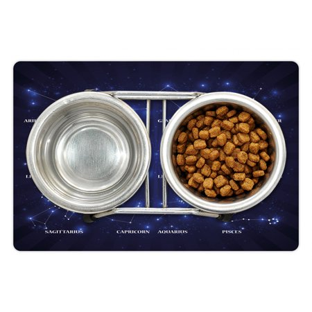 Constellation Pet Mat for Food and Water Dreamy Vibrant Display of Zo