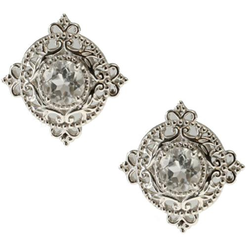 Dallas Prince  Sterling Silver White Topaz Filigree Round Starter Stud Earrings