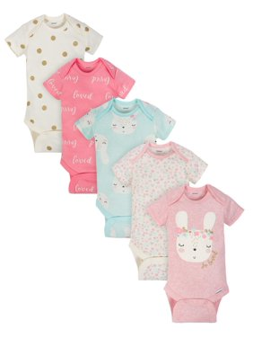 50cbc54a41a3 Product Image Gerber Organic Cotton Assorted Onesies Bodysuitts, 5pk (Baby  Girls)
