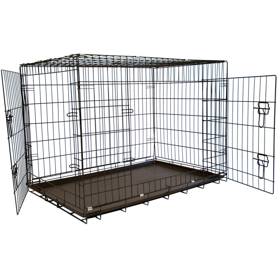 "Iconic Pet 42"" Foldable Double Door Pet Dog Cat Training Crate with Divider"