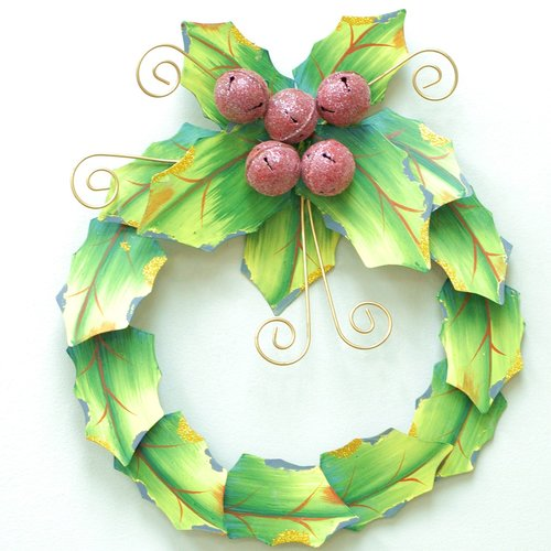 Attraction Design Home Holiday Holly Leaves Handcrafted Wreath