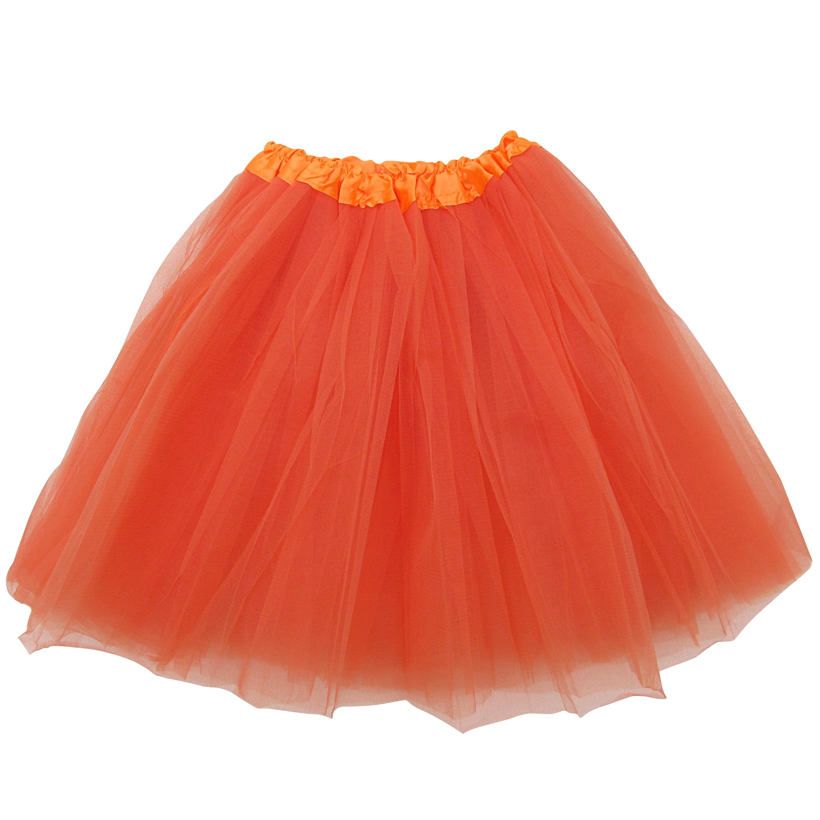 5539281d7 Plus Size Orange Adult Size 3-Layer Tulle Tutu Skirt - Princess Halloween  Costume, Ballet Dress, Party Outfit, Warrior Dash/ 5K Run - Walmart.com
