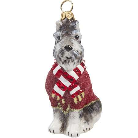 Grey Schnauzer In Red Sweater Polish Glass Christmas Ornament Pet Dog Poland New