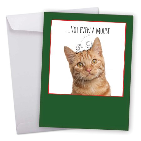 J6583FXSB Big Merry Christmas Greeting Card: 'Cats & Doodles' Featuring an Adorable Kitty Image With Hand Drawn Christmas Line Art Greeting Card with Envelope by The Best Card