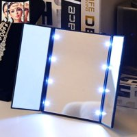 Makeup Cosmetic Mirror with 8 LED Lights, Stand Foldable Tri-sided Tri-fold Lighted Beauty Vanity Mirror for Beauty Travel Compact Design