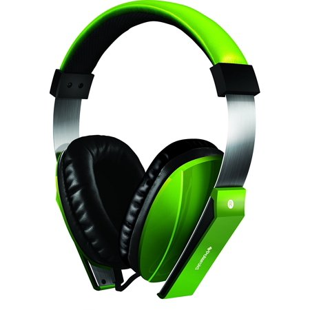 Polaroid PHP8600GR Extra Bass Series Headphone with Noise Isolation and In_line Mic_ Green Extra Bass Series Headphones