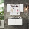 Wooden Bathroom Wall Mount Medicine Cabinet with Mirror Doors Adjustable Shelf, White
