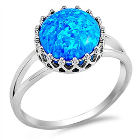 Blue Opal Wedding Set - CHOOSE YOUR COLOR Deep Set Blue Simulated Opal Wedding Ring New .925 Sterling Silver Band