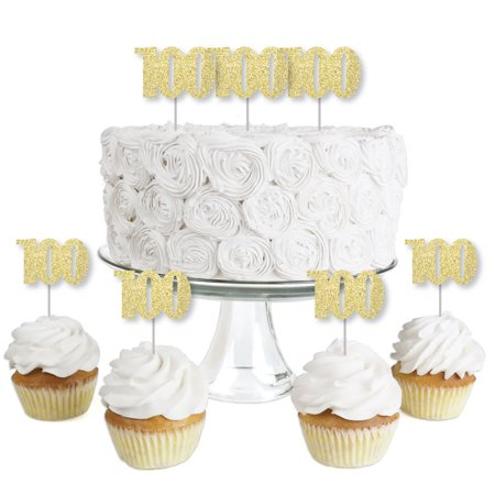 Gold Glitter 100 - No-Mess Real Gold Glitter Dessert Cupcake Toppers - 100th Birthday Party Clear Treat Picks - 24 Ct (Party Stores In Ct)